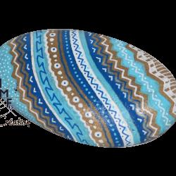 galet peint zentangle bleu