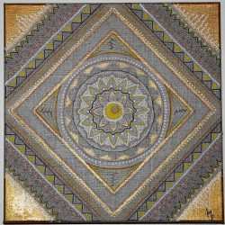 tableau mandala carré doré