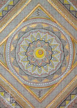 tableau mandala carré doré détail