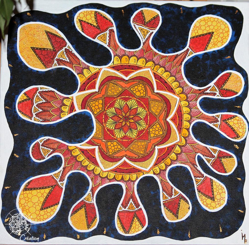 Tableau Mandala Jaune Tache Noire Peinture Acrylique Tableau